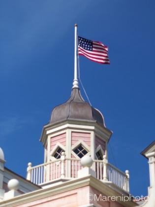 ピンクの塔と星条旗
