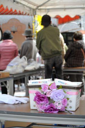 花の付いたポケットティッシュの籠