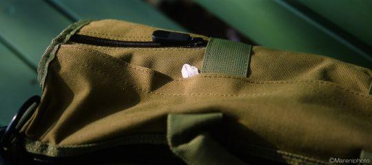 鞄に落ちた桜の花びら