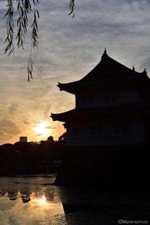 夕焼けと江戸城巽櫓