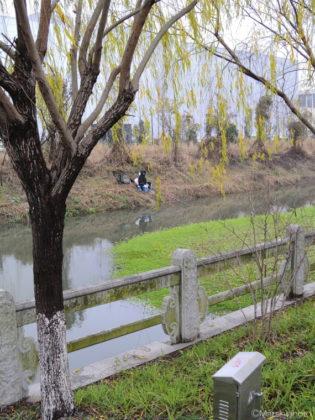 運河と釣り人